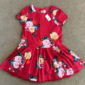 NWT Gap Kids Red Floral dress with tulle size 8 M